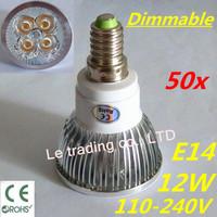 50pcs/lot Hot selling Dimmable E14 4X3W 12W Spotlight Led Lamp Led Light 110V-240V Led Bulbs Free shipping