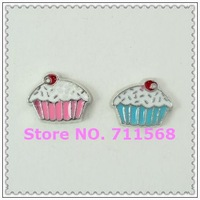 7MM Cute Blue Cupcake Floating Charms Cup cake Italian Charms Cupcake Pendants For DIY Floating Locket Accessories