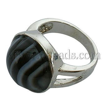 precious stone Ring, with Brass Findings, Round, Agate, Dyed, Black(China (Mainland))
