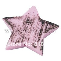 Acrylic Beads,  Glitter Beads,  Star,  Pink,  about 39mm long,  36mm wide,  7mm thick,  hole: 2mm,  about 111pcs/500g