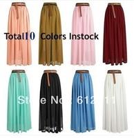 2014 Spring Free shipping Fashion  Chiffon Retro Double Layer Chiffon Pleated Elastic Waist Maxi skirt