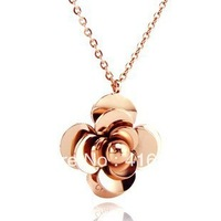 Free Shipping  Fashion Jewellery Exquisite 3D Camellia Flowers Rose Gold Necklace Titanium Steel Necklace Female Gift