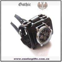 Black / Brown 2 colors punk Gothic leather wide strap Quartz Watch