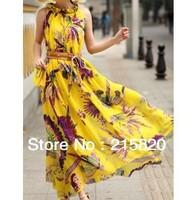 Summer Floral printed chiffon beach dress, yellow Chiffon dress,European summer new style princess dress large size