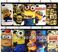 10PCS/lot wholesale skin Despicable Me Minion case hard back cover for iphone 4 4s 5 free shipping