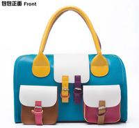 Fashion Multicolour double pocket bag one shoulder handbag dual-use package color block bag