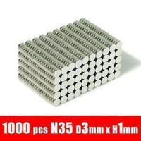 3*1 1000pcs 3mm x 1mm disc powerful magnet craft neodymium  rare earth permanent strong n50 n52 magnet neodymium n50