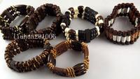 Wholesale 24 pcs Charm elastic wood beads bracelets fashion jewelry