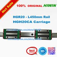 100% genuine original HIWIN BRAND Linear Guide1lot  2pcs HGR20 450mm rail with 4pcs HGH20CA carriage