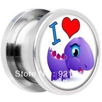 I Heart Brontosaurus Dinosaur Screw Fit Plug ear expander plugs flesh gay body piercing jewelry fre shipment 100pcs/lot