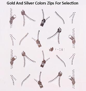 Nail Art Water Transfers Stickers  Metallic Gold Silver Zipper Zip Nail Decals 20 Sheets/Lot  Free Shipping
