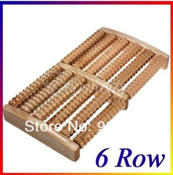 2014 New 6 Row Wood Foot Massager for feet Wooden Roller Stress Relief Body detox pedicure Massage Feet Relax Spa