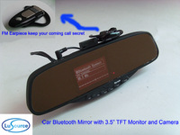 """Car 3.5"""" TFT LCD Bluetooth Rearview Mirror Reverse Video Camera Reversing System with Wireless FM Earpiece"""