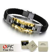 OPK JEWELRY Luxury man gold 316L stainless steel with Carbon fiber genuine leather braid Bracelet bangle12mm X 22cm infinity 809