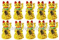 "Wholesale 10 x New 4.5"" Chinese Feng-Shui Lucky Money Cat Beckoning Waving Wealth Gold MANEKI NEKO"