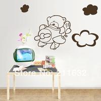 Free Shipping Cute Cartoon Bear Flying Plane Print Home Decor Vinyl Wall Sticker