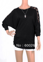 2013 Fashion Autumn Women's Long Sleeve Crew Neck Batwing Dolman Lace Casual Loose Tops T-Shirt Size S M L XL Free Shipping#5348
