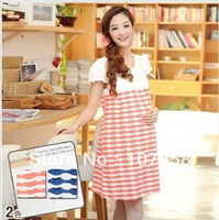 2014 New Summer Fashion Stripes Short sleeve dresses Maternity dress Pregnant women dresses Maternity tops 2 colors #JJ12119