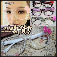 Kt08 bow kitty cat glasses frame big box eyeglasses frame