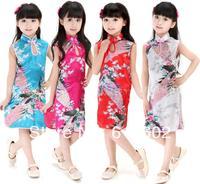 Promotions! 2014 new summer girls silk peacock cheongsam, children cheongsam performance clothing, girls dresses, free shipping