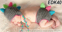Fashionable Animal Caps Dragon Hat with Horns and earflaps,Dinosaur Hat and Diaper Cover Set for Newborn Baby Shower Gift