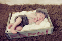 Gentleman Handmade Crochet Newborn Baby Boy Beret Hat in Gray,Knitted Hat and Braces Diaper Cover Set for Photo Props