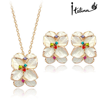 Italina Rigant Elegant Flower 18K Rose Gold plated Jewelry Set With Swarovski Crystal Stellux High Quality #RG20697