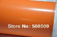 Orange 4D carbon fiber vinyl wrap film 1.52x30m air free bubbles  free shipping  high quality