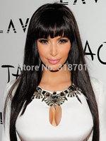 Lace Front human hair Long Straight Elegant black Brazilian human hair wigs14-24inches Free Shipp