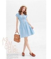 Free shipping The  new epaulettes V collar zipper waist light blue beam waist cotton denim dress ft87