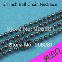 60cm (24 inch) Gunmetal 2.4mm ball chain necklace, 60cm Gunmetal Ball Chain, Bead Chain Necklace Chains