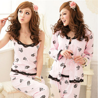 2014 Spring and autumn loungewear women's 100% cotton pink long sleeve length sleepwear women pajama sets lady 3 pieces one set