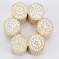 Restoring ancient ways round wooden seal elegant decorative pattern lace series Korea stamp