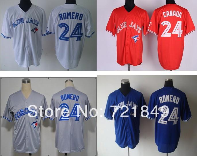 Discount Toronto Blue Jays shirts #24 Ricky Romero baseball Jersey wholesale blue white grey red canada day Free shipping(China (Mainland))