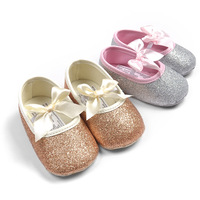 Free shipping 2015 Bling golden leather baby toddler shoes princess ballet sequins infants shoes G217