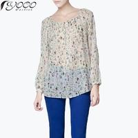 2014 NEW hot sale  European style spring &summer flowers print grass women chiffon blouse Woman's chiffon shirt YC-B33319-X29