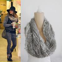 Chopop Fur  Rabbit Fur Muffler Rabbit Fur Scarf Knitted Fur Snood Scarf Handmade Fur Pullover as Christmas Gift Free Shipping