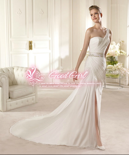 Beautiful chiffon beaded craft Slim fishtail wedding dress, tailored(China (Mainland))