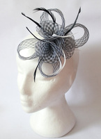 Coiled Mesh Flowers & Feather Fascinator Wedding Races - Cocktail Headpieces