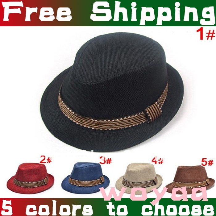 Children Solid Color Jazz Hat Baby Fedoras Canvas Cap Baby Boy Girl Classic Plain Top Hat 5Colors Factory Price Free Shipping(China (Mainland))