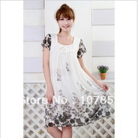 2014 New Summer Fashion Printed Chiffon Short sleeve Maternity dress Pregnant women dresses Maternity tops 4 colors #YF303