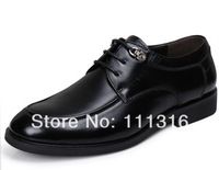 2013 new fashion men's Genuine Leather shoes black and brown business shoes Oxfords BIG SIZE US 6-13 EUR 38-47 JT040