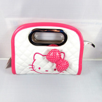 New Arrival!!2013 Fashion Cute Bow  Hello Kitty Pu  tote bag handbag Pink Red  shoulder  Luggage Free Shipping   Ako21H46