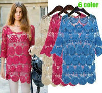 free shipping 2013 new  flower lace loose crochet blouse pullover shirt camisa for women