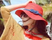 Wholesale and Retail Fashion Women Wide Large Brim Floppy Summer Beach fashion accessories Sun Straw Hat Cap Free Shipping