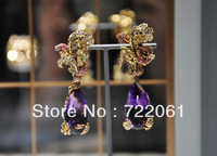 Free postage to retail and wholesale 925 sterling silver jewelry earrings with fine micro Amethyst Drop Earrings jewels
