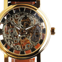 2013 free shipping hot sale winner skeleton hollow fashion hand wind mens black leather strap Mechanical Wrist Watch silve gold
