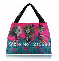 cartoon printing large zip bag for teenagers Mexico brand Dracon hobos Bag , BZ-19, Free shipping