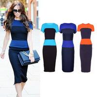 women dresses new fashion european vintage sexy short sleeve Knee-Length pencil dress victoria beckham dress