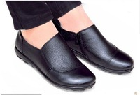 Women's shoes comfortable quinquagenarian mother shoes single shoes female flat heel genuine leather breathable leather flat